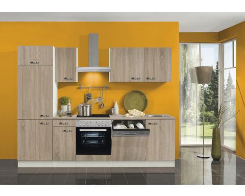 Cuisine complète Optifit Padua largeur 270 cm couleur de façade imitation chêne clair brut couleur de corps champagne avec électroménager KPPD 2702DE-9+-0