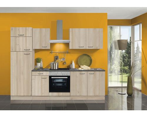 Cuisine complète Optifit Elba largeur 270 cm couleur de façade imitation hêtre noble couleur de corps imitation hêtre noble avec électroménager KPEL 2731DE-9+