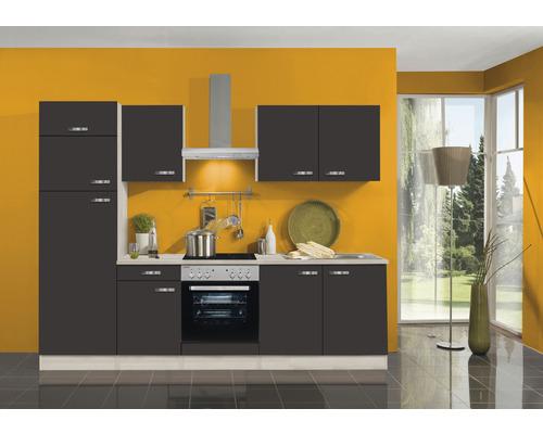 Cuisine complète Optifit Faro largeur 270 cm couleur de façade anthracite couleur de corps Décor acacia avec électroménager KPFR 2731DE-9+