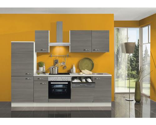 Cuisine complète Optifit Vigo largeur 270 cm couleur de façade pin fantaisie nougat couleur de corps champagne avec électroménager KPVG 2742DE-9+-0