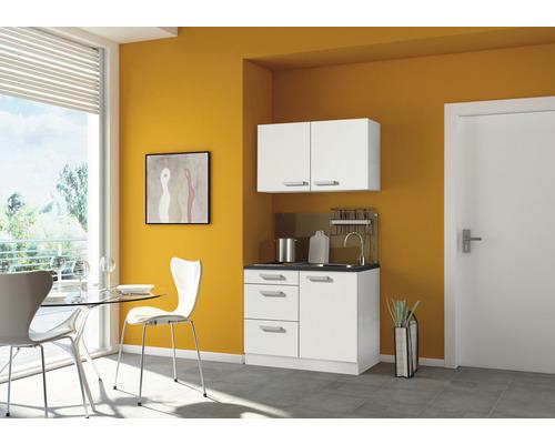 Mini-cuisine Optifit Oslo214 largeur 100 cm couleur de façade blanc brillant couleur de corps blanc avec appareils électriques