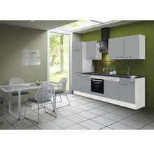 Cuisine complète Optifit Ronja825 largeur 280 cm couleur de façade gris basalte couleur de corps blanc avec électroménager KRRO 2802EC-3+-thumb-0