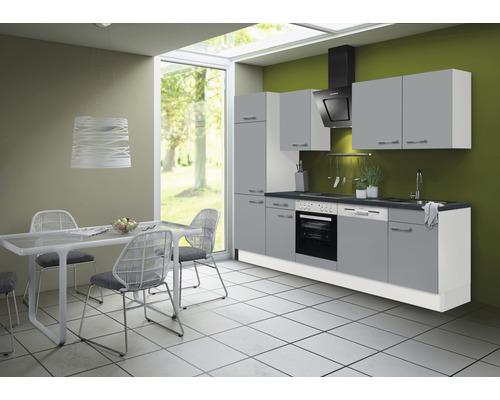 Cuisine complète Optifit Ronja825 largeur 280 cm couleur de façade gris basalte couleur de corps blanc avec électroménager KRRO 2802EC-3+-0