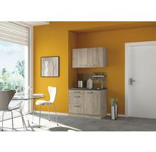 Mini-cuisine Optifit Neapel largeur 100 cm couleur de façade imitation chêne clair brut couleur du corps imitation chêne clair brut avec appareils électriques-thumb-0
