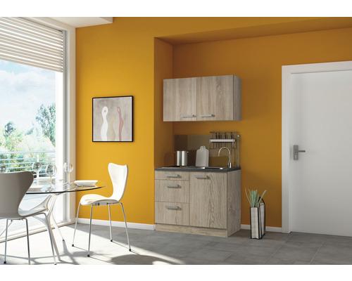 Mini-cuisine Optifit Neapel largeur 100 cm couleur de façade imitation chêne clair brut couleur du corps imitation chêne clair brut avec appareils électriques