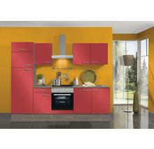 Cuisine complète Optifit Imola largeur 270 cm couleur de façade rouge, couleur du corps imitation chêne truffe brut avec électroménager KPIM 2731DE-9+-thumb-0