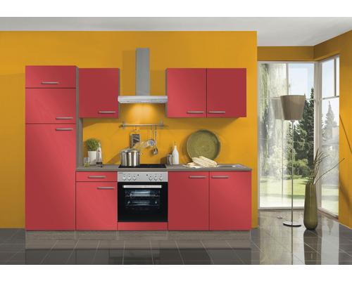 Cuisine complète Optifit Imola largeur 270 cm couleur de façade rouge, couleur du corps imitation chêne truffe brut avec électroménager KPIM 2731DE-9+-0