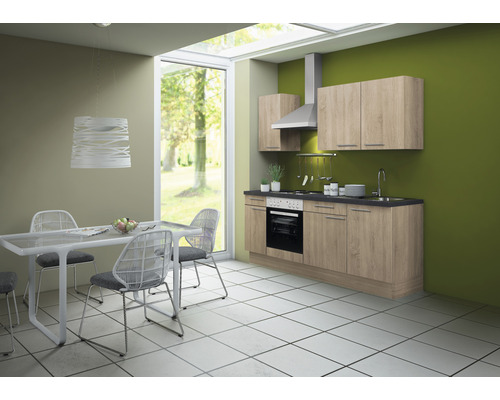 Cuisine complète Optifit Lasse largeur 210 cm couleur de façade imitation chêne clair brut, couleur du corps imitation chêne clair brut avec électroménager KCLA 2101DE-8+
