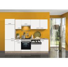 Cuisine complète Optifit Zamora largeur 270 cm couleur de façade blanc couleur du corps imitation chêne clair brut avec électroménager KPZM 2702WDE-9+-thumb-0