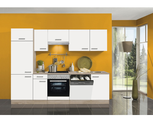 Cuisine complète Optifit Zamora largeur 270 cm couleur de façade blanc couleur du corps imitation chêne clair brut avec électroménager KPZM 2702WDE-9+-0