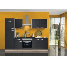Cuisine complète Optifit Udine largeur 270 cm couleur de façade anthracite, couleur de corps imitation hêtre noble avec électroménager KPUD 2731DE-9+-thumb-0