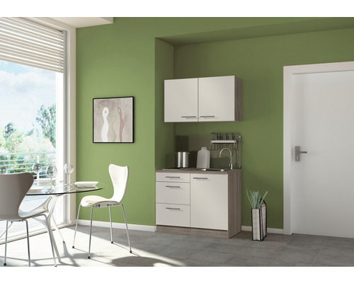 Mini-cuisine Optifit Arta largeur 100 cm couleur de façade beige Sahara couleur du corps imitation chêne truffe brut avec appareils électriques
