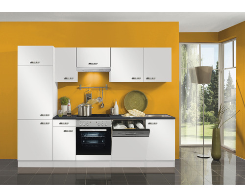 Cuisine complète Optifit Lagos largeur 270 cm couleur de façade blanc brillant couleur de corps blanc avec électroménager KPLG 2702WDE-9+-0