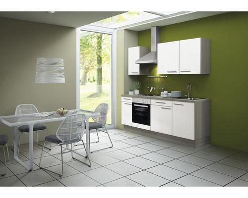 Cuisine complète Optifit Torger largeur 210 cm couleur de façade blanc couleur de corps blanc avec électroménager KCTO 2101DE-8+