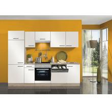Cuisine complète Optifit Dakar largeur 270 cm couleur de façade blanc brillant, couleur du corps imitation chêne clair brut avec électroménager KPDK 2702WDE-9+-thumb-0