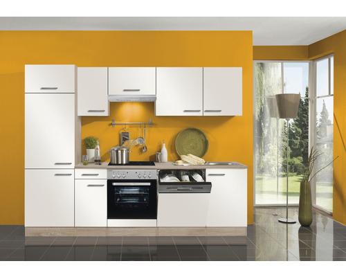 Cuisine complète Optifit Dakar largeur 270 cm couleur de façade blanc brillant, couleur du corps imitation chêne clair brut avec électroménager KPDK 2702WDE-9+-0