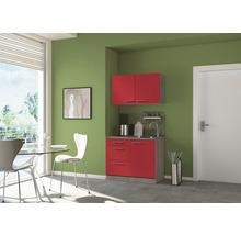 Mini-cuisine Optifit Imola largeur 100 cm couleur façade rouge couleur du corps imitation chêne truffe brut avec appareils électriques-thumb-0