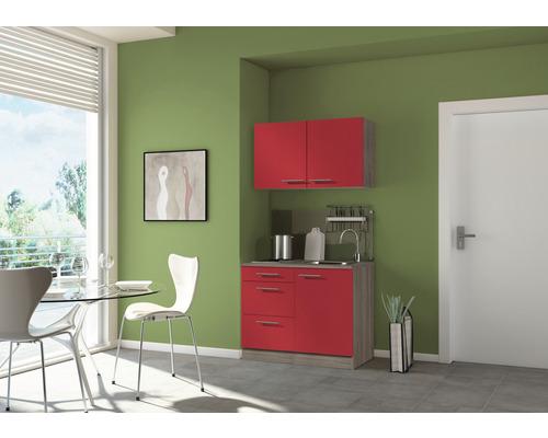 Mini-cuisine Optifit Imola largeur 100 cm couleur façade rouge couleur du corps imitation chêne truffe brut avec appareils électriques