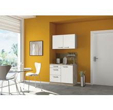 Mini-cuisine Optifit Zamora largeur 100 cm couleur de façade blanc brillant couleur du corps imitation chêne clair brut avec appareils électriques-thumb-0