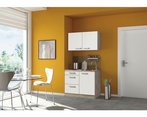 Mini-cuisine Optifit Zamora largeur 100 cm couleur de façade blanc brillant couleur du corps imitation chêne clair brut avec appareils électriques
