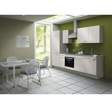 Cuisine complète Optifit Finn largeur 270 cm couleur de façade blanc brillant, couleur de corps pin fantaisie nougat avec électroménager KCFI 2702DE-8+-thumb-0