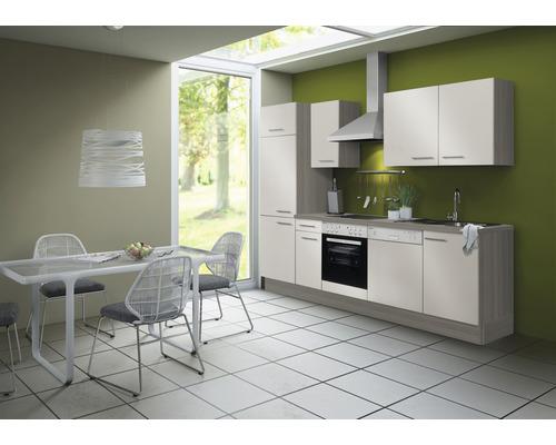 Cuisine complète Optifit Finn largeur 270 cm couleur de façade blanc brillant, couleur de corps pin fantaisie nougat avec électroménager KCFI 2702DE-8+-0