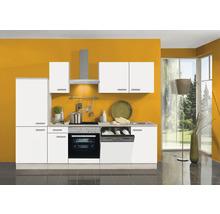 Cuisine complète Optifit Genf largeur 270 cm couleur de façade blanc couleur de corps Décor acacia avec électroménager KPGF 2742DE-9+-thumb-0