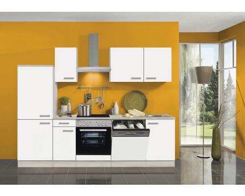 Cuisine complète Optifit Genf largeur 270 cm couleur de façade blanc couleur de corps Décor acacia avec électroménager KPGF 2742DE-9+-0