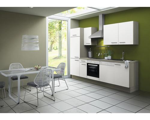 Cuisine complète Optifit Torger largeur 270 cm couleur de façade blanc couleur de corps blanc avec électroménager KCTO 2702DE-8+-0