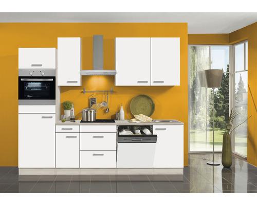 Cuisine complète Optifit Genf largeur 270 cm couleur de façade blanc couleur de corps Décor acacia avec électroménager KPGF 2764DEC-9+-0