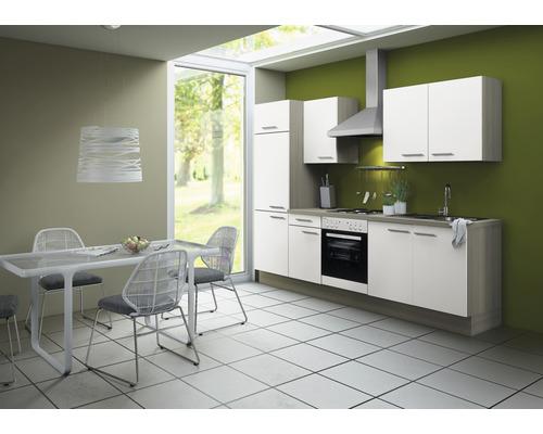 Cuisine complète Optifit Torger largeur 270 cm couleur de façade blanc couleur de corps blanc avec électroménager KCTO 2711DE-8+-0