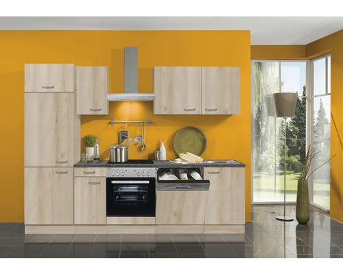 Cuisine complète Optifit Elba largeur 270 cm couleur de façade imitation hêtre noble couleur de corps imitation hêtre noble avec électroménager KPEL 2702DE-9+-0