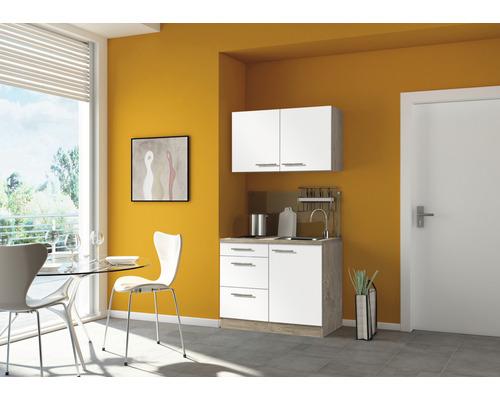 Mini-cuisine Optifit Dakar largeur 100 cm couleur façade blanc brillant, couleur du corps imitation chêne clair brut avec appareils électriques