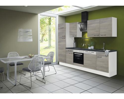 Cuisine complète Optifit Tove256 largeur 280 cm couleur de façade pin fantaisie nougat couleur de corps blanc avec électroménager KRTO 2822EC-3+-0