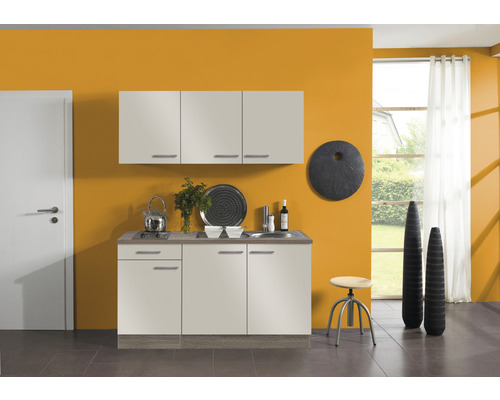 Kitchenette Optifit Arta largeur 150 cm couleur de façade beige Sahara couleur du corps imitation chêne truffe brut avec électroménager KPAT 1532D-9+