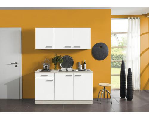 Kitchenette Optifit Genf largeur 150 cm couleur de façade blanc couleur de corps, décor acacia avec électroménager KPGF 1532D-9+-0