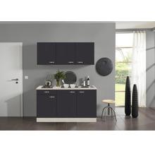 Kitchenette Optifit Faro largeur 150 cm couleur de façade anthracite, couleur de corps décor acacia avec électroménager KPFR 1532D-9+-thumb-0