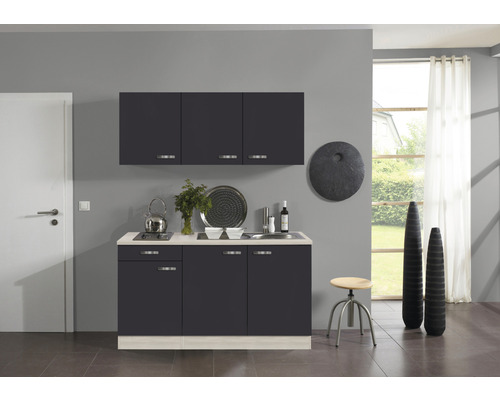 Kitchenette Optifit Faro largeur 150 cm couleur de façade anthracite, couleur de corps décor acacia avec électroménager KPFR 1532D-9+