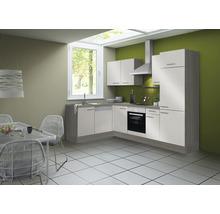 Cuisine complète Optifit Finn largeur 270 cm couleur de façade blanc brillant, couleur de corps pin fantaisie nougat avec électroménager KCFI 21702DE-8+-thumb-0