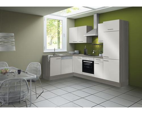 Cuisine complète Optifit Finn largeur 270 cm couleur de façade blanc brillant, couleur de corps pin fantaisie nougat avec électroménager KCFI 21702DE-8+-0