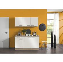 Kitchenette Optifit Dakar largeur 150 cm couleur de façade blanc brillant couleur du corps imitation chêne clair brut avec électroménager KPDK 1532D-9+-thumb-0
