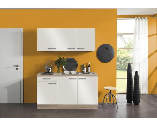 Kitchenette Optifit Dakar largeur 150 cm couleur de façade blanc brillant couleur du corps imitation chêne clair brut avec électroménager KPDK 1532D-9+