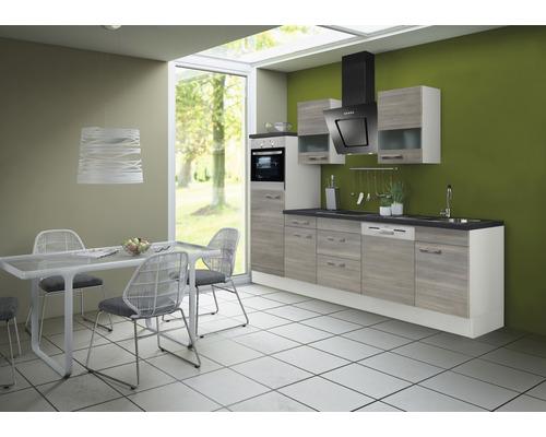 Cuisine complète Optifit Tove256 largeur 280 cm couleur de façade pin fantaisie nougat couleur de corps blanc avec électroménager KRTO 2866EC-3+-0