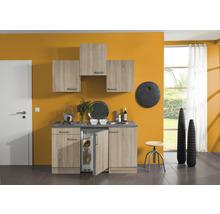 Kitchenette Optifit Neapel largeur 150 cm couleur de façade imitation chêne clair brut couleur du corps imitation chêne clair brut avec électroménager KPNA 1500D-9+-thumb-0