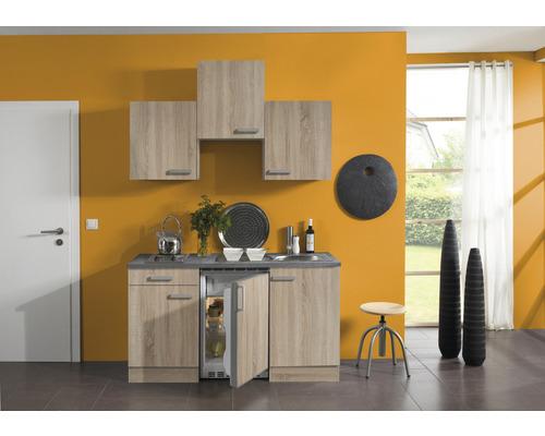 Kitchenette Optifit Neapel largeur 150 cm couleur de façade imitation chêne clair brut couleur du corps imitation chêne clair brut avec électroménager KPNA 1500D-9+