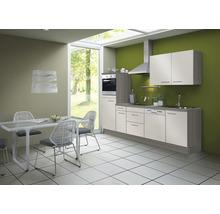 Cuisine complète Optifit Finn largeur 270 cm couleur de façade blanc brillant, couleur de corps pin fantaisie nougat avec électroménager KCFI 2742DE-8+-thumb-0