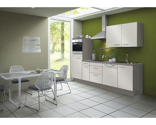 Cuisine complète Optifit Finn largeur 270 cm couleur de façade blanc brillant, couleur de corps pin fantaisie nougat avec électroménager KCFI 2742DE-8+-0