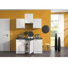 Kitchenette Optifit Lagos largeur 150 cm couleur de façade blanc brillant couleur de corps blanc avec électroménager KPLG 1500D-9+-thumb-0