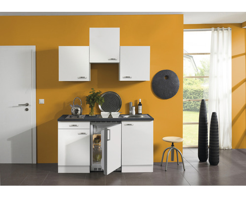 Kitchenette Optifit Lagos largeur 150 cm couleur de façade blanc brillant couleur de corps blanc avec électroménager KPLG 1500D-9+-0