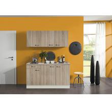 Kitchenette Optifit Padua largeur 150 cm couleur de façade imitation chêne clair brut couleur de corps champagne avec électroménager KPPD 1532D-9+-thumb-0